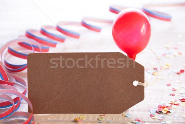 Foto stock: Fiesta · etiqueta · globo · espacio · de · la · copia · uno · anuncio