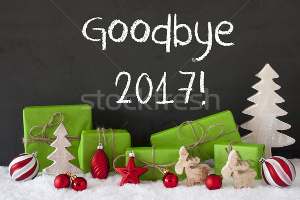 Christmas Decoration, Cement, Snow, Text Goodbye 2017 Stock photo © Nelosa