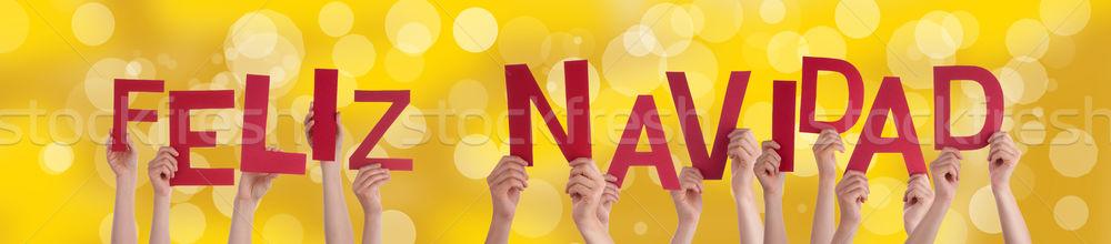 Feliz Navidad on Golden Background Stock photo © Nelosa