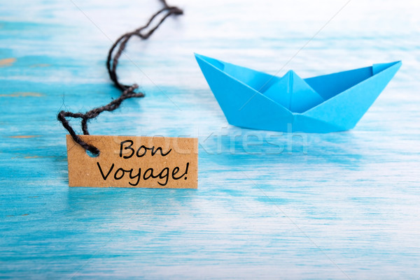 Ship with Bon Voyage Label Stock photo © Nelosa