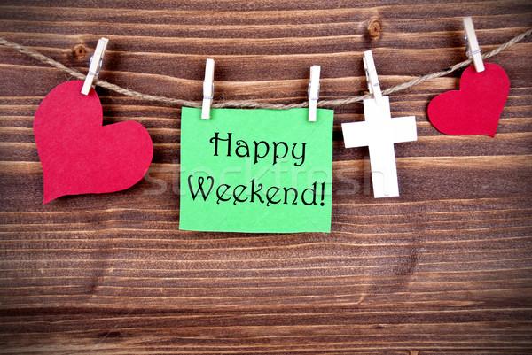 Zielone tag szczęśliwy weekend line serca Zdjęcia stock © Nelosa