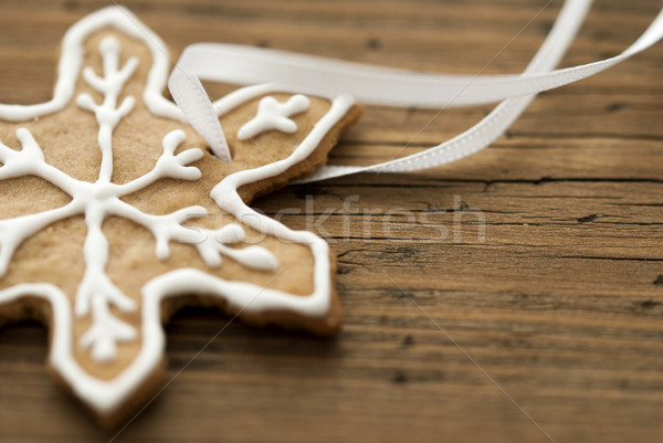 Decorated Ginger Bread on Wood with Copy Space Stock photo © Nelosa
