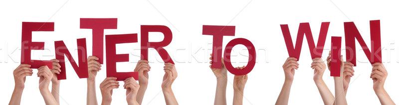 Emberek kezek tart piros szó belépés Stock fotó © Nelosa