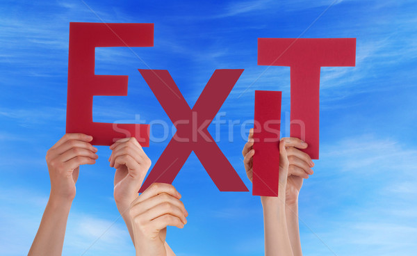 Many People Hands Holding Red Word Exit Blue Sky Stock photo © Nelosa