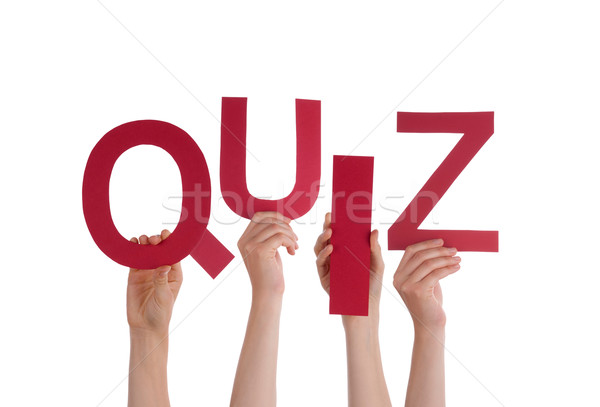 Many People Hands Holding Red Word Quiz  Stock photo © Nelosa