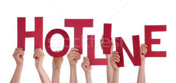 Muchos personas manos rojo palabra Foto stock © Nelosa