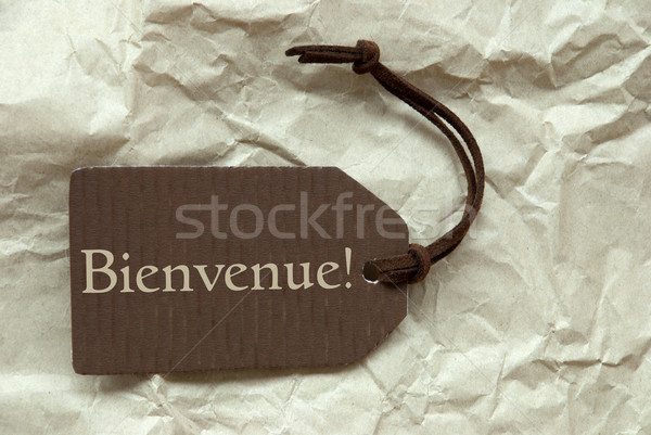 Brown Label With French Bienvenue Means Welcome Stock photo © Nelosa