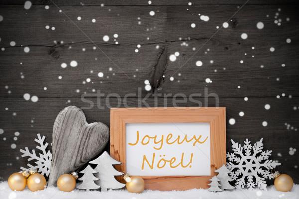 Golden Gray Decoration,Snow,Joyeux Noel Mean Christmas,Snowflake Stock photo © Nelosa