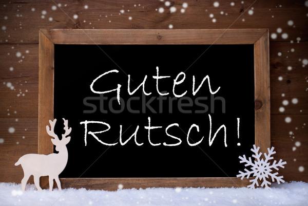 Christmas Card, Blackboard, Guten Rutsch Mean New Year, Snow Stock photo © Nelosa