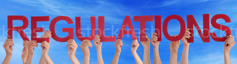 Many People Hands Holding Red Straight Word Regulations Blue Sky Stock photo © Nelosa