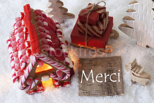 Gingerbread House, Sled, Snow,Merci Means Thank You Stock photo © Nelosa