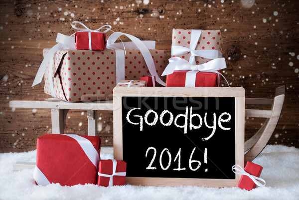 Stock photo: Sleigh With Gifts, Snow, Snowflakes, Text Goodbye 2016