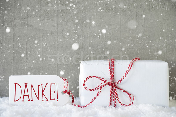 Foto stock: Dom · cimento · flocos · de · neve · obrigado · um · natal