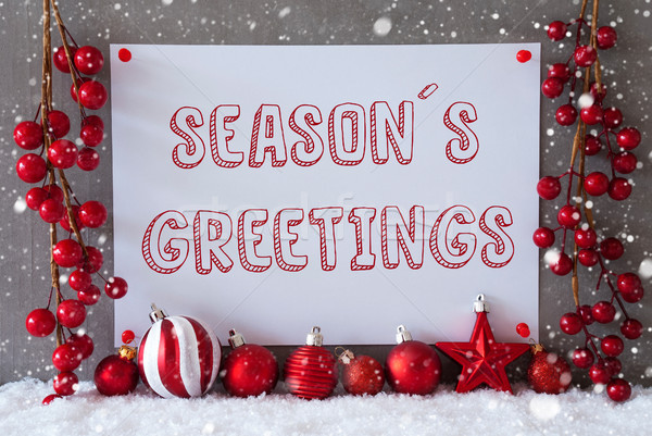 Label, Snowflakes, Christmas Balls, Text Seasons Greetings Stock photo © Nelosa