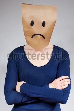 Mutsuz kişi bakıyor kafa yalıtılmış Stok fotoğraf © Nelosa