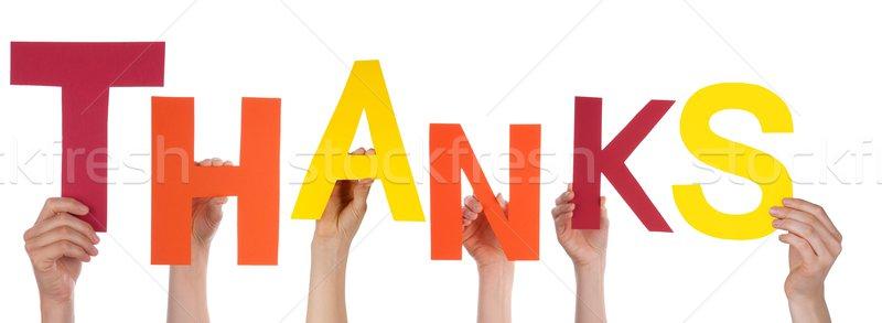 Handen dank veel kleurrijk woord Stockfoto © Nelosa