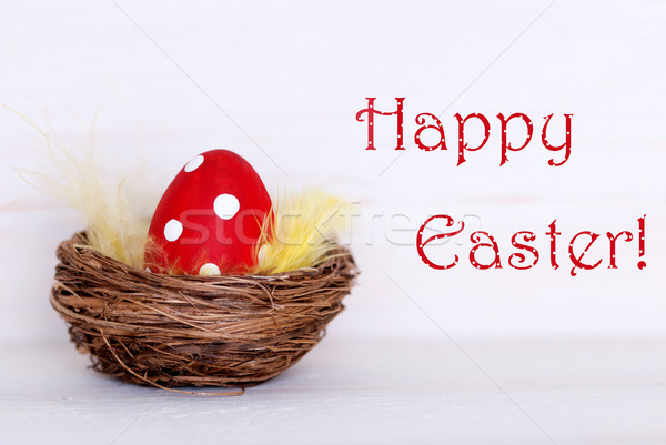 One Red Easter Egg In Nest With Happy Easter Stock photo © Nelosa