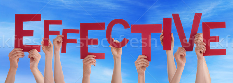 Many People Hands Holding Red Word Effective Blue Sky Stock photo © Nelosa