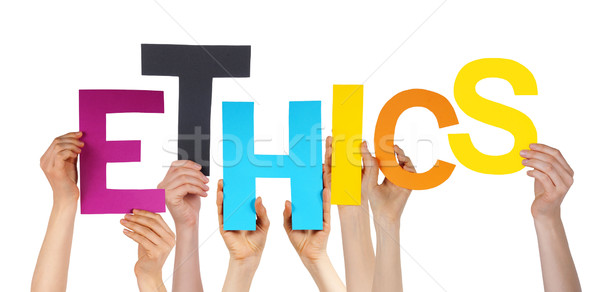Many People Hands Holding Colorful Word Ethics  Stock photo © Nelosa