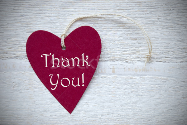 Red Heart Label With Thank You Stock photo © Nelosa