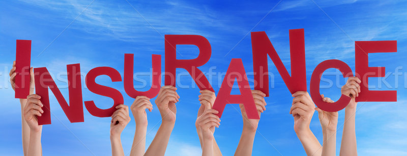 Many People Hands Holding Red Word Insurance Blue Sky Stock photo © Nelosa