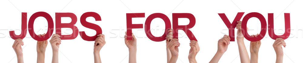 Hands Holding Red Straight Word Jobs For You  Stock photo © Nelosa