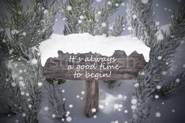 Christmas Sign Snowflakes Fir Tree Text Time Begin Stock photo © Nelosa
