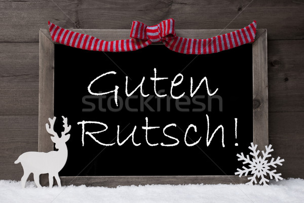 Gray Christmas Card, Snow, Loop, Guten Rutsch Mean New Year Stock photo © Nelosa