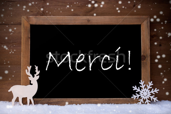 Vintage Christmas Card, Blackboard, Snow, Merci Mean Thank You Stock photo © Nelosa
