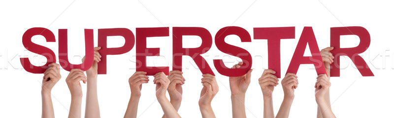Many People Hands Holding Red Straight Word Superstar Stock photo © Nelosa
