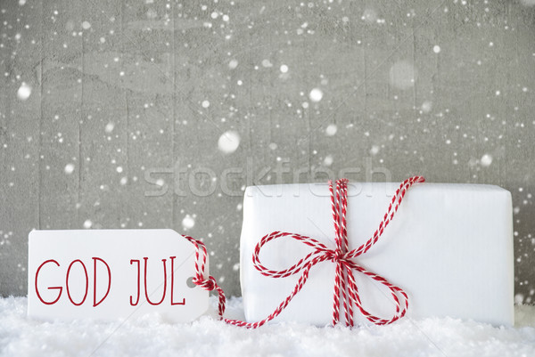 Gift, Cement Background With Snowflakes, God Jul Means Merry Christmas Stock photo © Nelosa