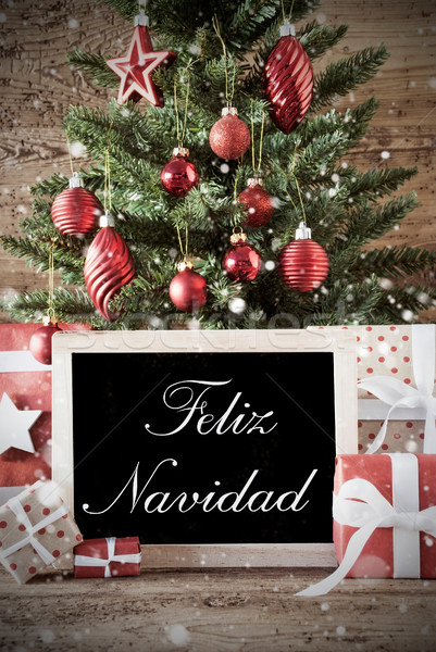 Nostalgic Tree With Feliz Navidad Means Merry Christmas Stock photo © Nelosa