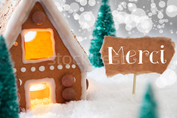 Gingerbread House, Silver Background, Merci Means Thank You Stock photo © Nelosa