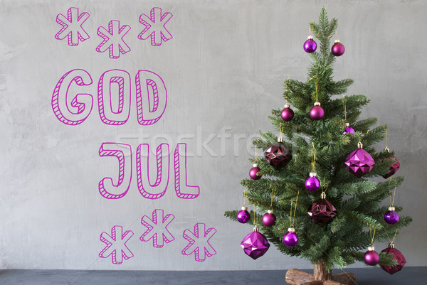 Tree, Cement Wall, Text God Jul Means Merry Christmas Stock photo © Nelosa