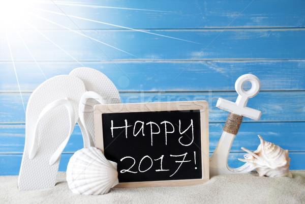 Sunny Summer Card With Text Happy 2017 Stock photo © Nelosa