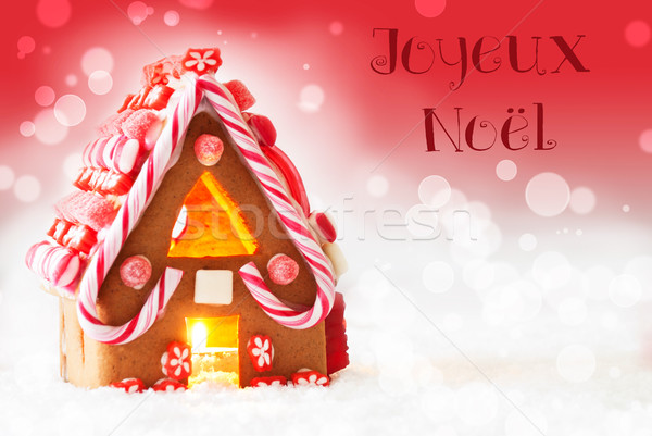 Gingerbread House, Red Background, Joyeux Noel Means Merry Christmas Stock photo © Nelosa