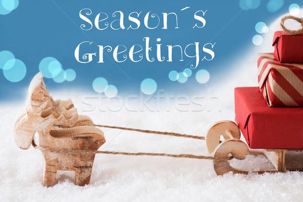 Reindeer, Sled, Light Blue Background, Text Seasons Greetings Stock photo © Nelosa