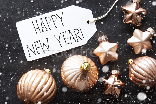 Bronze Christmas Balls, Snowflakes, Text Happy New Year Stock photo © Nelosa