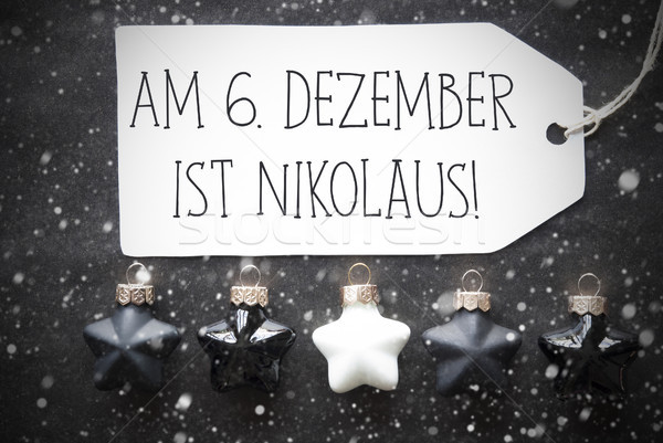 Black Christmas Balls, Snowflakes, Nikolaus Means Nicholas Day Stock photo © Nelosa