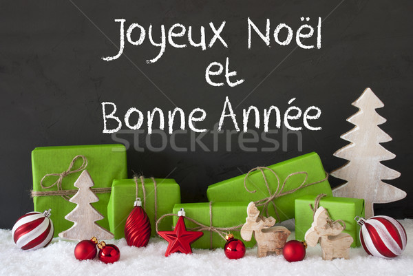 Christmas Decoration, Cement, Snow, Bonne Annee Means Happy New Year Stock photo © Nelosa