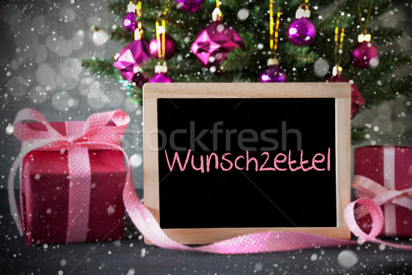 Tree With Gifts, Snowflakes, Bokeh, Wunschzettel Means Wish List Stock photo © Nelosa