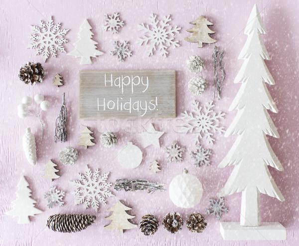 Christmas Decoration, Flat Lay, Text Happy Holidays, Snowflakes Stock photo © Nelosa