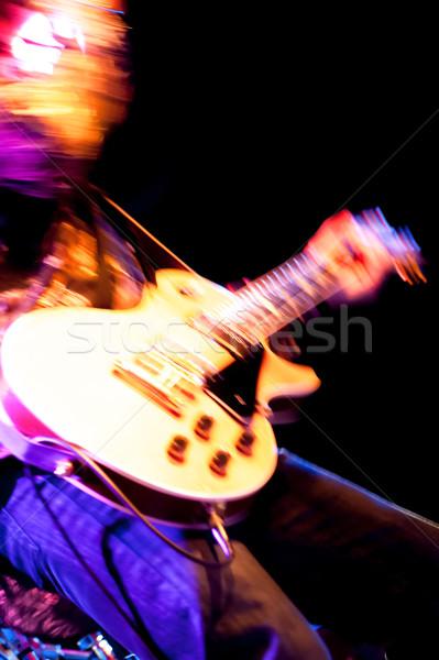Kaya gitarist soyut altın gitar Stok fotoğraf © nelsonart