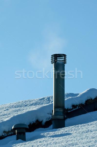 Sigara içme baca kar kapalı yangın Stok fotoğraf © nelsonart
