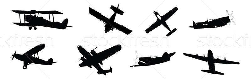 Pervane uçak ayarlamak siluetleri yalıtılmış beyaz Stok fotoğraf © nelsonart