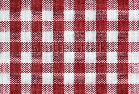 Vermelho verificar tecido branco toalha de mesa Foto stock © nelsonart