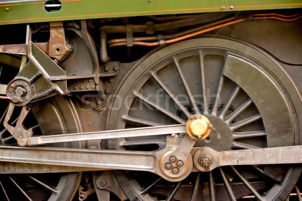 Locomotief engineering wiel detail vintage stoomlocomotief Stockfoto © nelsonart