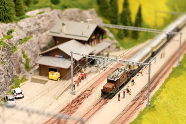 Alpesi vasút állomás miniatűr modell elektromos Stock fotó © nelsonart