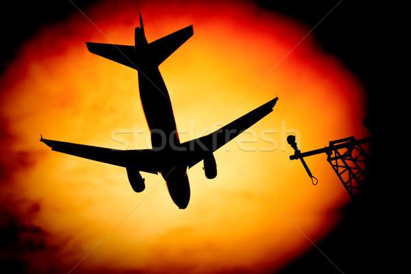 Foto stock: Aviación · silueta · Jet · despegue · aterrizaje · sol