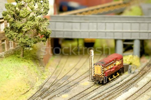 Modelo trem pormenor conjunto locomotiva raso Foto stock © nelsonart